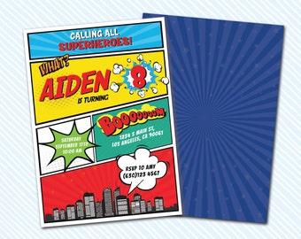 Digital Printable Comic / superhero Birthday Invitation. Girl Birthday