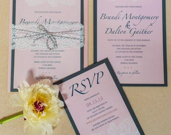Pink & Lace Invitation Suite (starting at 5.75 ea)