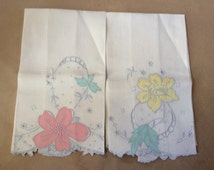 2 VINTAGE HAND TOWELS, Beautiful Pink  & Yellow Appliqué Flowers, Embroidered, Needlepoint
