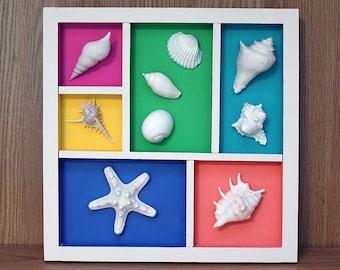 Sea Shell Wall Hanging, Sea Shell Display, Sea Shell Wall Art, Sea Shell Collage