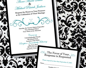 Customized Elegant Traditional Teal and Black Wedding Invitation with optional RSVP