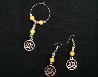 Earrings and Wine Glass Charm
