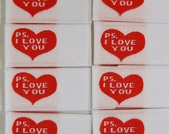 Sewing Labels - PS I Love You - Clothing Labels, Woven Labels