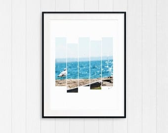 Seagull, Coastal Beach Decor, Nautical Wall Art Print, Printable Photo, Digital Download, Modern Minimalist, Cottage Art, Bathroom Decor