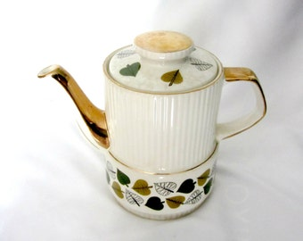 Vintage 1950's Gibson's StaffordShire England Teapot, Coffee Pot, Trimmed in Gold, Trimmed in Leaves, Numbered
