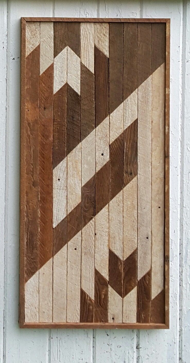 Reclaimed wood wall lath art abstract decor