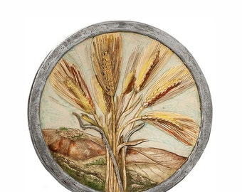 Ceramic Plate with Wheat Motif