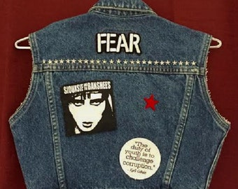 FEAR/Siouxsie and the Banshees/Kurt Cobain Quote/Military Stars Child's Punk Vest with Studs on Front and Back