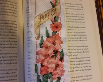 August cross stitched bookmark