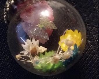 Pink geode glass ball charm