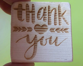 Tank you stamp: laser cut stamp, stamp  tags, rubber stamp, packaging supplies, stamp  shop