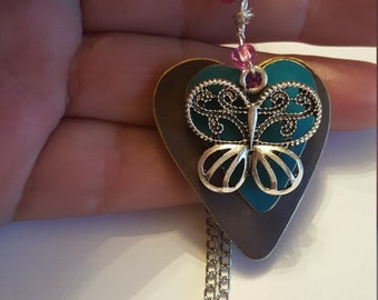 Layered Tin Heart Necklace