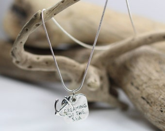 Silver Dreaming of the Sea Necklace with Anchor Charm