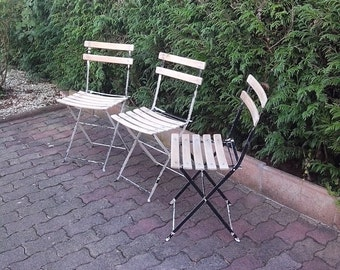 3 DISCOUNT wooden garden chairs and metal structure white and black