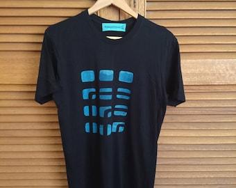 t-shirt 'follow me', handmade silk screen-printed men's, black