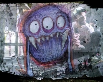5x7 in. Purple and Cute 3-Eyed Monster drawn on newspaper