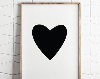 heart wall decor, black and white decor, black and white download, black and white printable, heart printable, heart decor