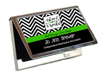 Ask me if it works Chevron Business card holder, it works Swag, Greens, Ask me about it works, wrapologist