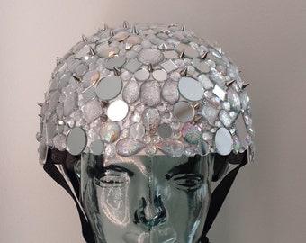 Mirror Ball -- Disco Ball Helmet, Mirror tiled, Spiked, Bejeweled, Rhinestone Helmet, Headpiece, Headdress, Burner, Burning Man