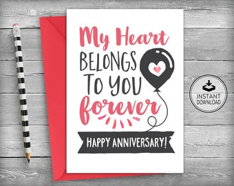 Anniversary Card | Happy Anniversary Card | Love Card | Romantic Card | Instant Download | Printable Card | DIY Greeting Card - My Heart