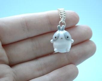 Kawaii Grey Molang Rabbit Charm,kawaii necklace,kawaii planner charm,kawaii jewellery,kawaii jewelry,korean,lolita,polymer clay jewelry