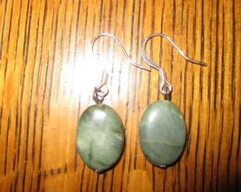 Jade and Sterling Silver Dangle Earrings