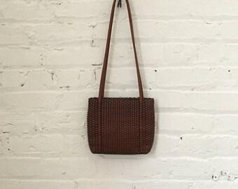 Vintage Nine West Brown Woven Leather Shoulder Bag