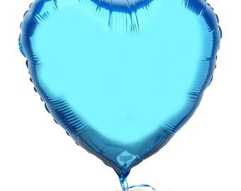 The Flower Rooms - Blue Heart Balloon by The Flower Rooms - Add On Item - Send With Your Flowers - Metallic Blue Heart Shaped Balloon