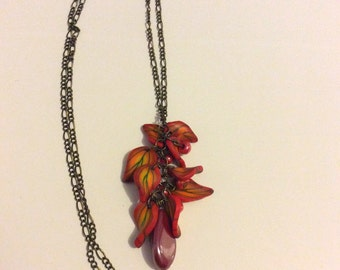 Adornment autumn necklace and earrings in polymer clay