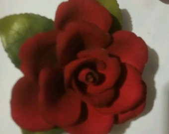 Beautiful Single Red Rose Capodimonte Napoleon Mark