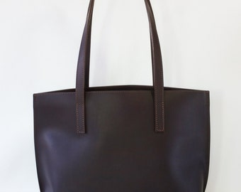 Elvira Dark Brown Leather Tote Bag