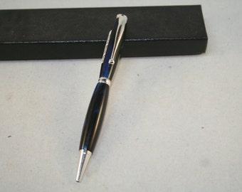Handmade Deep Blue Sea (Blue/black) Pen with Silver Parts