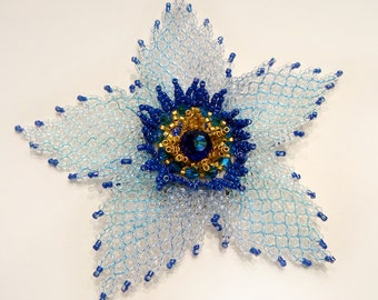 Beaded blue flower brooch (pin) with Swarovski crystals made of shiny Japanese Toho beads; ice effect