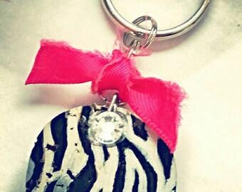 Zebra Wine Cork Keychains