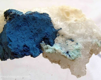 Electric Blue Shattuckite on Quartz, Tantara Mine, Congo