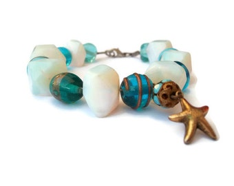 Designed handmade bracelet with small Starfish-shaped pendant and Special authentic glass beads