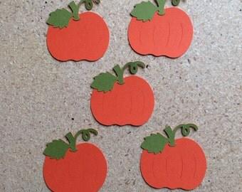 5 - 2 inch Pumpkin Die Cuts in Fall Colors for Paper Crafts Set 7005