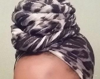 Silk Chiffon Animal Print Headwrap