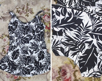 Vintage swimsuit / plus size / 50s style swimming costume / vintage bathers / One piece swimsuit / size 20