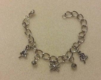 Flowers and Ribbon charm bracelet