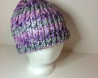 Purple & Gray Striped Crochet Beanie Winter Hat