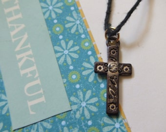 Rustic Vintage Style Cross Charm Necklace