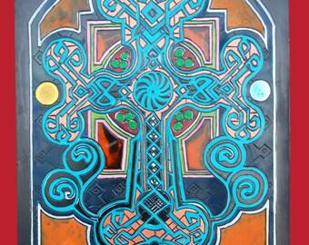 Engraving cross Armenian spirals