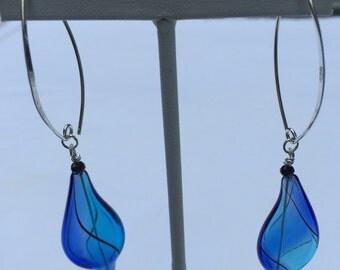 Free form blown glass royal blue/aqua silver threaded earrings