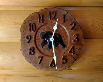 "Bear Wood Slice Clock - Oak - 12""Ø"