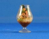 Dollhouse Miniature Accessory; Garden terrarium in twelfth scale; 1:12 scale.  Item #D130.  Miniature Floral arrangement.