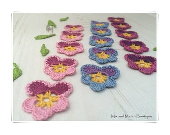 Set of 10 handmade crochet Pansies flowers and leafs for applique, cards, jewelry making / scrapbooking / sewing