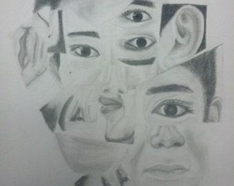 14 x 10 Pencil Fragment Drawing