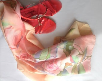 """Hand Painted Silk Scarf """"Roses"""".Handmade Scarves.Silkart scarf 12,6/67 inches.A perfect gift for her.Hand made scarf."""