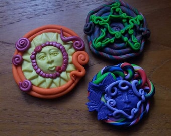 Set of three enchanted magnets